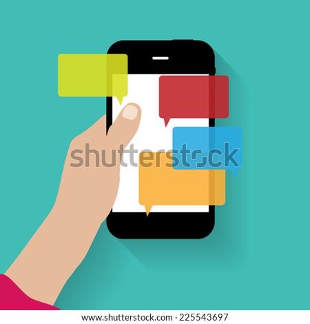 Text Messaging Flat  Concept Vector Illustration - stock vector
