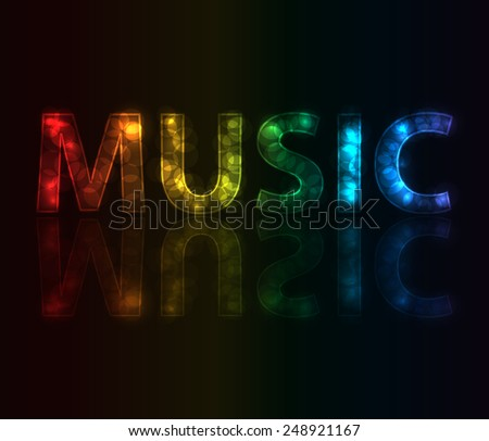 Text music made from colorful circles - stock vector