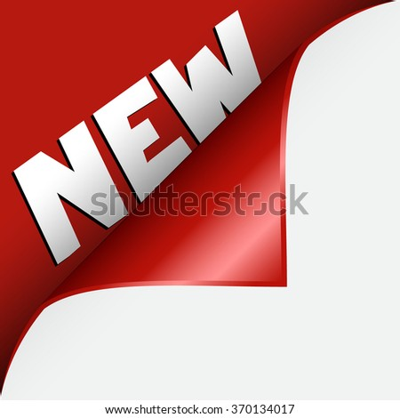 Text NEW under curled corner - stock vector