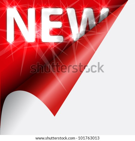 Text new with flash under red curled corner - stock vector