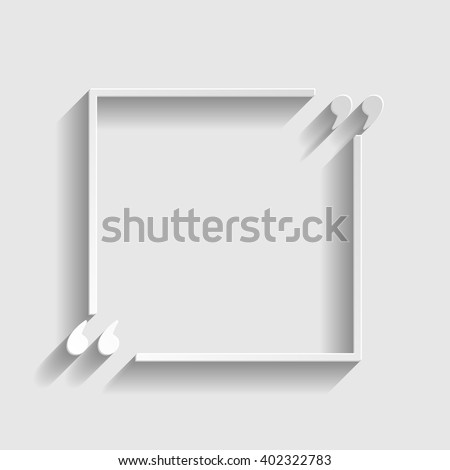 Text quote sign. Paper style icon with shadow on gray - stock vector