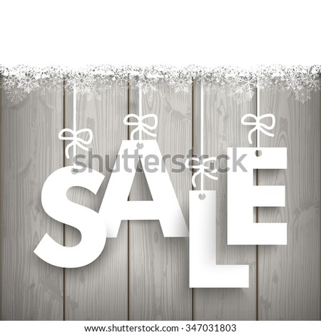 Text Sale with snow on the wooden background. Eps 10 vector file. - stock vector