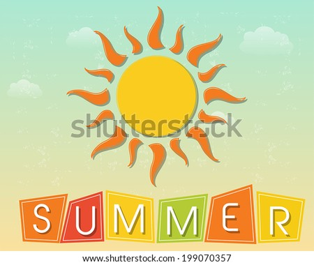 text summer and yellow sun with orange rays over blue sky background, flat design retro style label, vector - stock vector