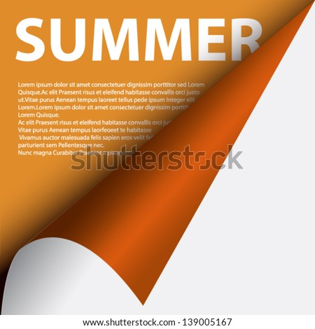 Text summer under curled corner - stock vector
