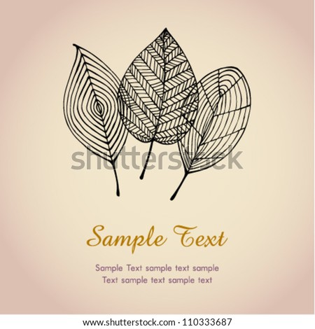 Text template autumn background with leaves. Illustration stylized graphic autumn leaves - stock vector