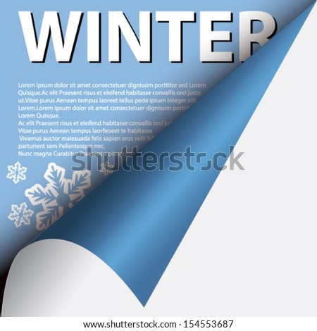 Text winter under curled corner - stock vector
