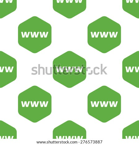 Text WWW in octagon, repeated on white background - stock vector