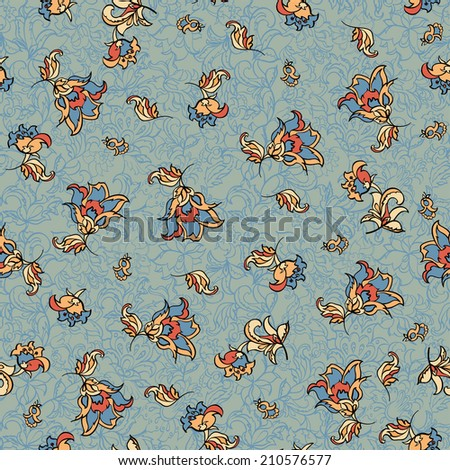 textile flower pattern - stock vector