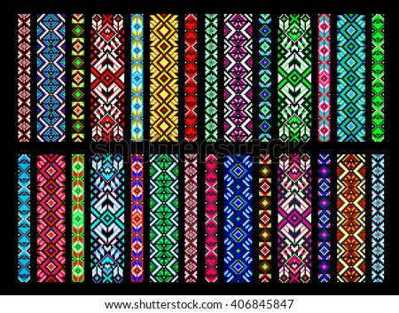 Textile ribbons, braids in the boho style with Scandinavian patterns, bead embroidery, embroidered belt. Trendy, contemporary ethnic seamless pattern, embroidery cross, squares, diamonds, chevrons. - stock vector