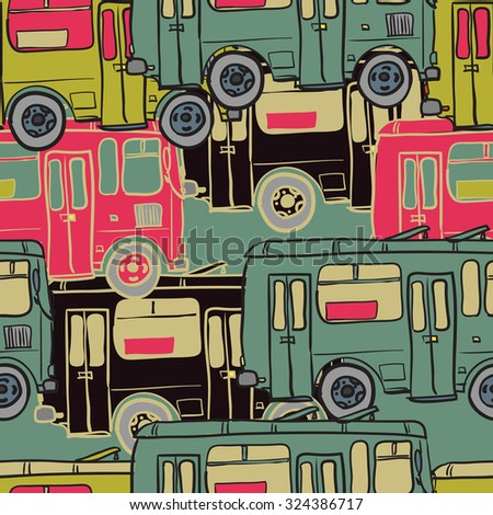 Textile seamless pattern of colored buses - stock vector