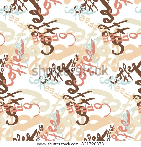 Textile seamless pattern of word coffee labels - stock vector