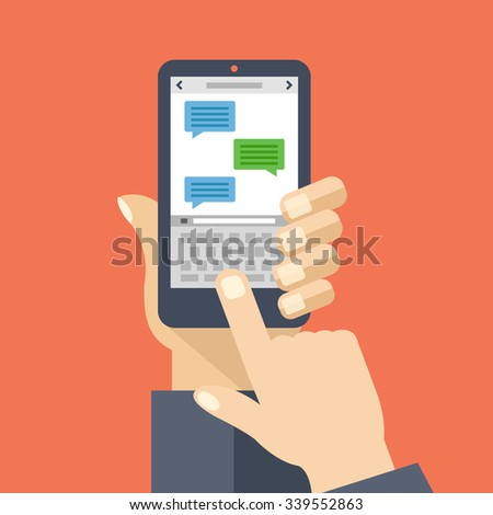 Texting app on smartphone screen. Messaging service. Hand holds smartphone, finger touch screen. Modern concept for web banners, web sites, infographics. Creative flat design vector illustration - stock vector