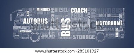 Texts shaped to show bus full of text related to people transport - stock vector