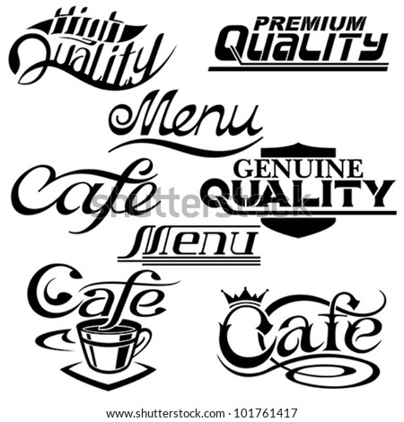 textual design elements. Collection of Premium Quality, cafe and menu textual designs - stock vector