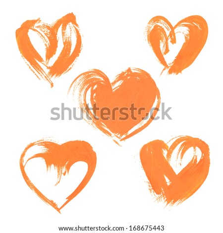 Textural heart drawn thick orange paint 1 - stock vector