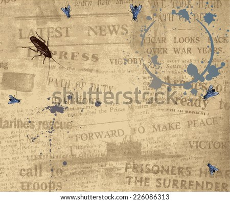 Texture of an ancient newspaper. Background of old grunge vintage newspaper. - stock vector