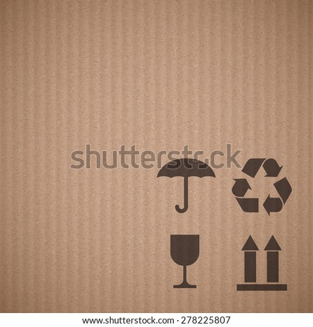 Texture of cardboard with signs. Vector background. - stock vector