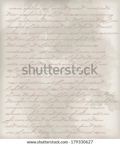 Texture of old vintage paper with letters - stock vector