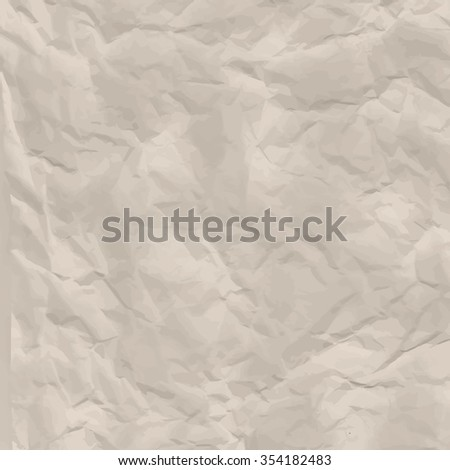 Texture of white crumpled paper full frame. - stock vector