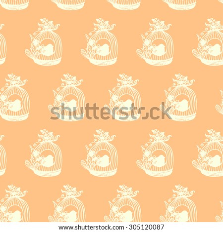 Texture seamless beige painted cages with birds and flowers - stock vector