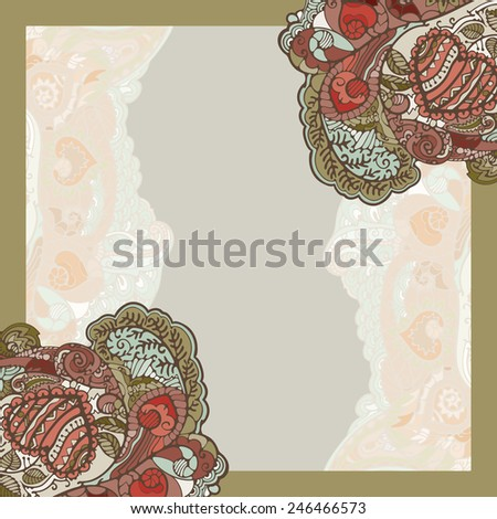 Texture with flowers and hearts. Abstract, ornamental pattern of recognizable plant and symbolic elements. - stock vector