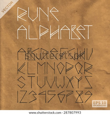 Texture wrapping paper (brown). Rune alphabet on aged paper (vintage). Texture can be used in your templates - stock vector