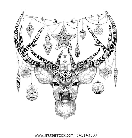 Textured Christmas deer with decorations. - stock vector