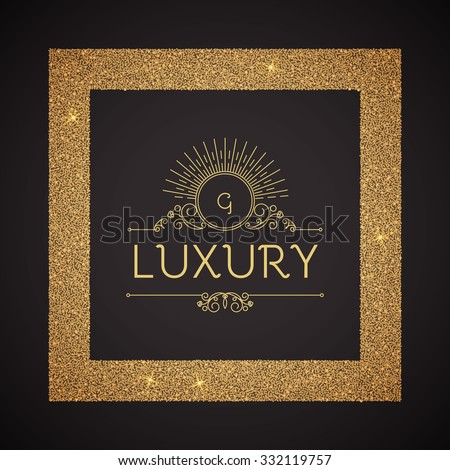 Textured Gold Frame with Elegant Vignette. Vector illustration. - stock vector
