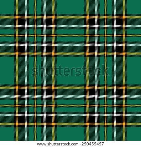 Textured irish tartan plaid. Seamless vector pattern - stock vector