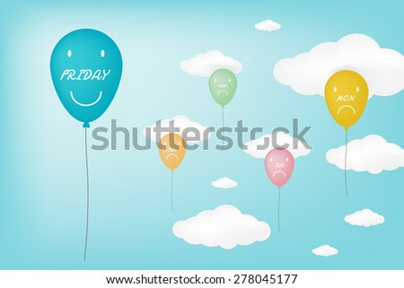 TGIF happy together displayed in ballon concept (vector style eps10) - stock vector