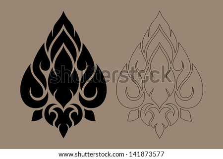 Thai Art Modern Design New Style Vector Illustration Black Color and Out Line Number 1 - stock vector