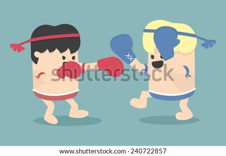 Thai boxing cartoon - stock vector