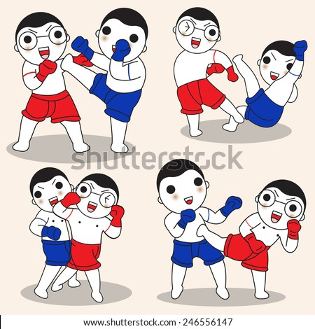 Thai Boxing characters illustration set - stock vector