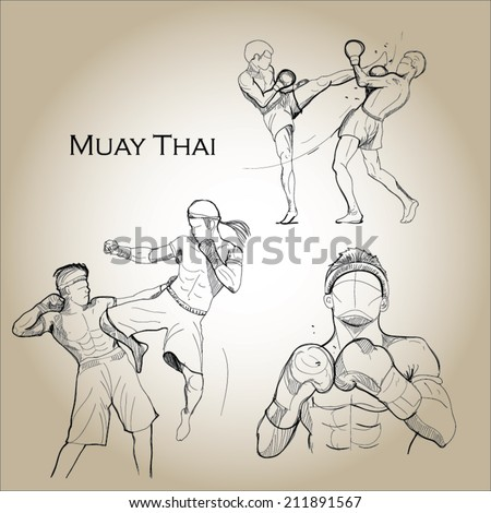 Thai boxing (combat martial art from Thailand)  - stock vector