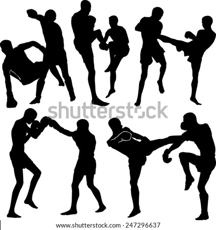 Thai boxing silhouettes - stock vector