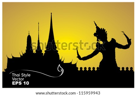 thai dance woman with temple in thailand background silhouette - stock vector