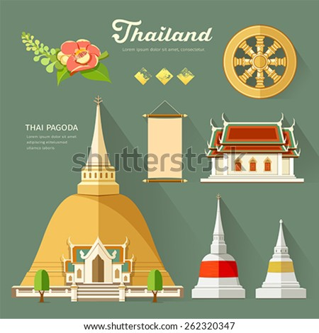 Thai Pagoda with temple, wheel of life, and flower, collections of thailand. vector illustration - stock vector