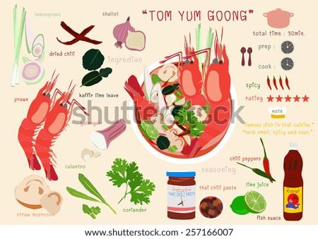 thai spicy soup - stock vector