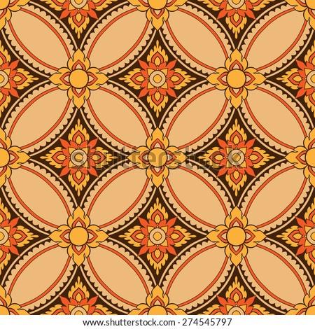 Thai style design pattern cream, brown  - stock vector