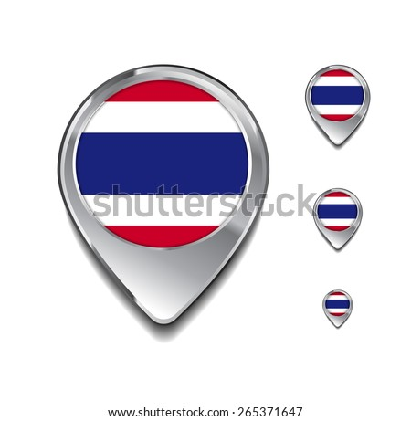 Thailand flag map pointer. 3d Map Pointer with flag glossy button style on gray background - stock vector