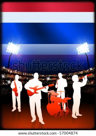 Thailand Flag with Live Music Band on Stadium Background Original Illustration - stock vector