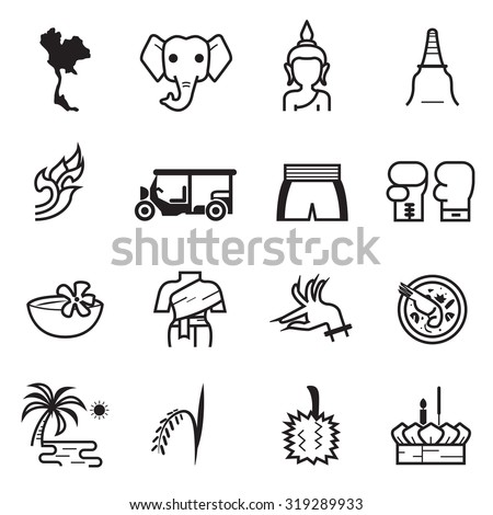 Thailand icons - stock vector