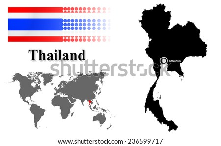Thailand info graphic with flag , location in world map, Map and the capital ,Canberra, location.(EPS10 Separate part by part) - stock vector