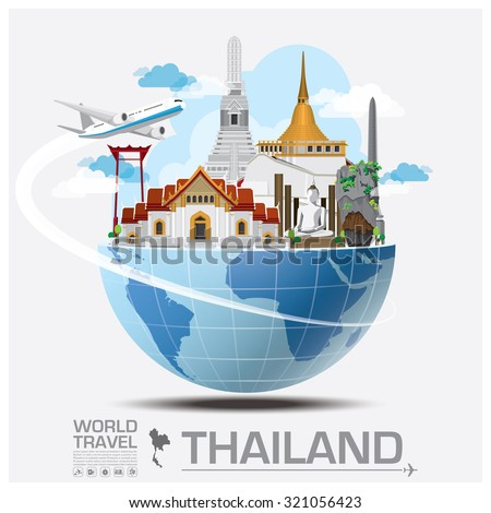 Thailand Landmark Global Travel And Journey Infographic Vector Design Template - stock vector