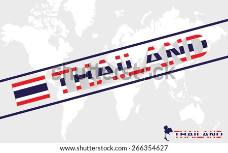 Thailand map flag and text illustration, on world map - stock vector