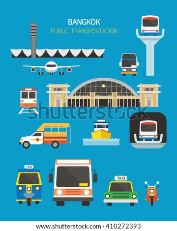 Thailand Transportation Objects Set, Mode of Transport, Station - stock vector