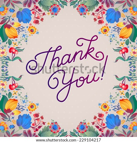 Thank You Abstract Floral Background  Calligraphy. THANK YOU hand lettering -- handmade calligraphy - stock vector