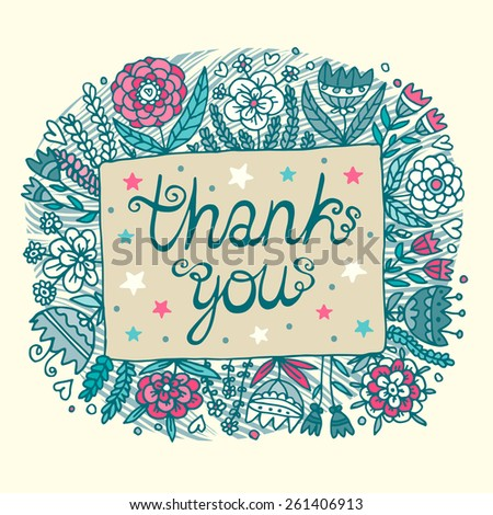 Thank you beautiful floral card. - stock vector