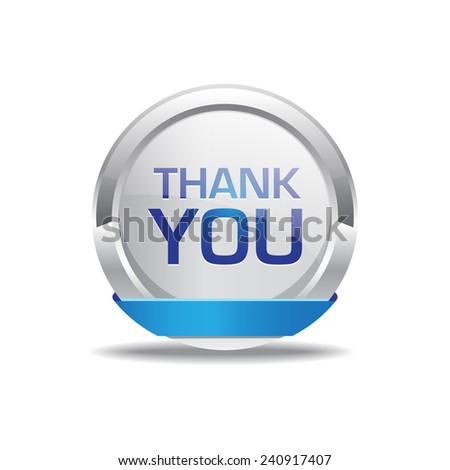 Thank You Blue Circular Vector Button - stock vector