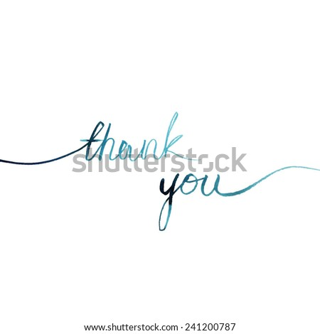 thank you/ blue watercolor words line on a white background/ vector illustration - stock vector